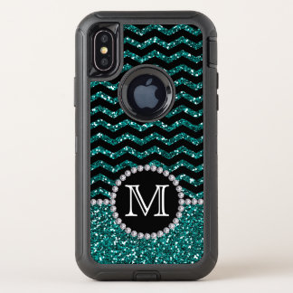 Blue Glitter Chevron Monogrammed Defender OtterBox Defender iPhone X Case