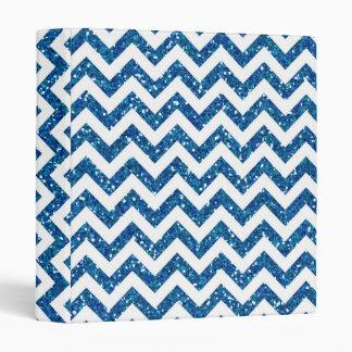 Blue Glitter Chevron Pattern 3 Ring Binders