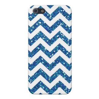 Blue Glitter Chevron Pattern Cover For iPhone SE/5/5s