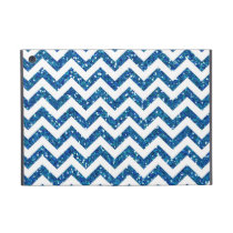 Blue Glitter Chevron Pattern Covers For iPad Mini