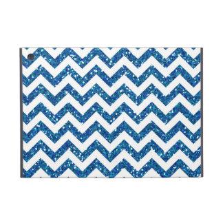 Blue Glitter Chevron Pattern Covers For iPad Mini