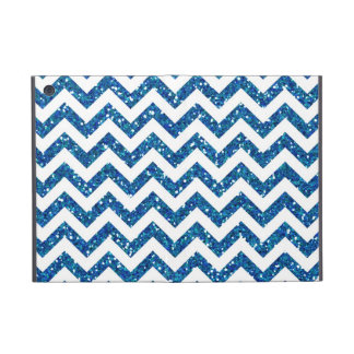 Blue Glitter Chevron Pattern iPad Mini Cover