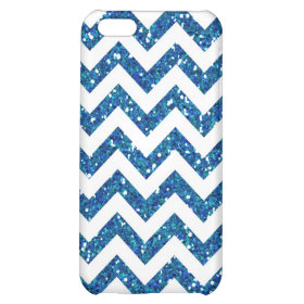 Blue Glitter Chevron Pattern iPhone 5C Case