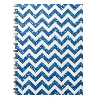 Blue Glitter Chevron Pattern Spiral Note Book