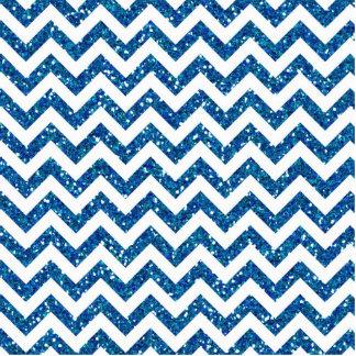 Blue Glitter Chevron Pattern Statuette