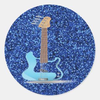 Blue Glitter Classic Round Sticker
