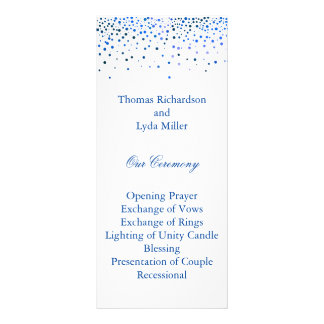 Blue Glitter Confetti Faux Foil Wedding Program