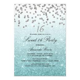 Blue Glitter Confetti Sweet 16 Invitation