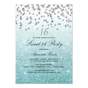 Blue Sweet 16 Invitations Announcements Zazzle