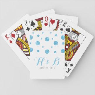 Blue Glitter Confetti Wedding Playing Cards