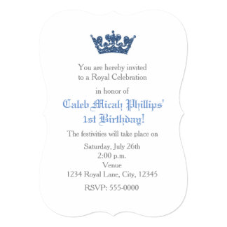 Blue Glitter Crown Royal Birthday Invitation