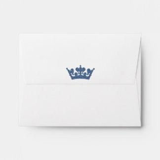 Blue Glitter Crown Royal Party Invitation Envelope