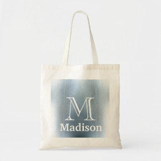 Blue glitter faux personalized monogram tote bag