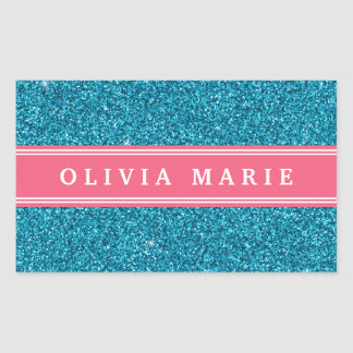 Blue Glitter (faux) Pink Personalized Name Rectangular Sticker