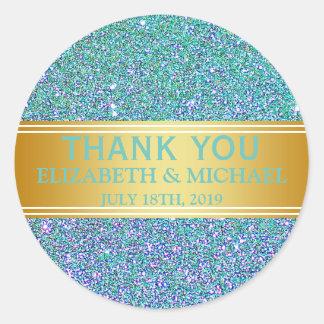 Blue Glitter Gold Badge Thank You Classic Round Sticker