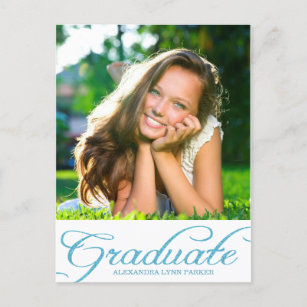 Graduation invitation postcards zazzle blue glitter graduation party invitation postcard filmwisefo