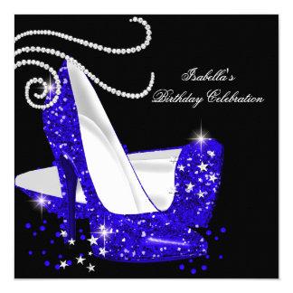 Blue Glitter High Heels Black Birthday Party 5.25x5.25 Square Paper Invitation Card
