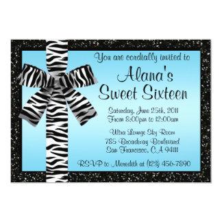 """Blue Glitter Invite With Zebra Print Bow 5"""" X 7"""" Invitation Card"""