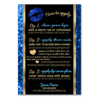 Blue Glitter Lip Instructions Card