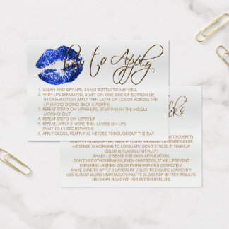 Blue Glitter Lips 2 - How to Apply Business Card