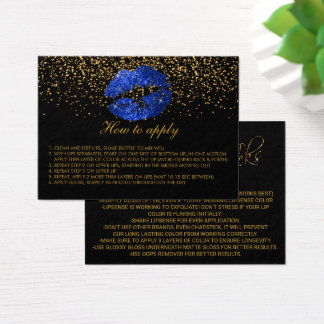 Blue Glitter Lips Application Instructions Business Card