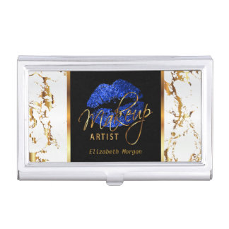 Blue Glitter Lips on Gold & White Marble Case For Business Cards