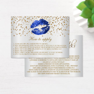 Blue Glitter Lips on White Instructions Business Card