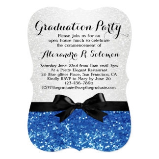 Blue Glitter-look Bow Graduation Party Invitation