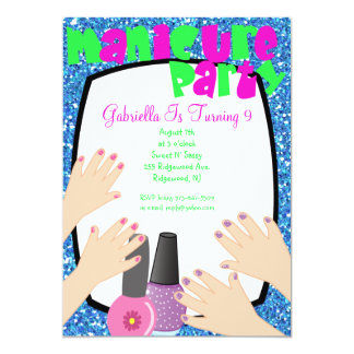 Blue Glitter Manicure Spa Birthday Party Card