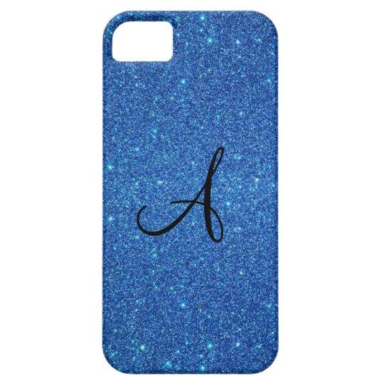 Blue glitter monogram gifts iPhone SE/5/5s case