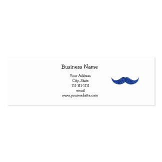 blue glitter mustache Double-Sided mini business cards (Pack of 20)