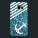 "Blue Glitter Nautical Anchor with Monogram Samsung Galaxy S6 Case<br><div class=""desc"">Nautical Anchor phone case.  PRINTED (not shiny) Blue Glitter with personalized monogram.  Background color can be changed.  Enter your own HEX # or select the background color in the options tab. 