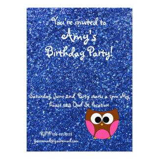 Blue glitter owl invitation