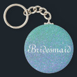 """Blue Glitter Personalized Bridesmaid Keychain<br><div class=""""desc"""">This is Blue glitter personalized bridesmaid keychain. Faux gold glitter Elegant logo design with monogrammed letter initials. It is cute vintage gift idea for classy bride,  flower girls,  maid of honor and bridesmaids at fancy wedding or bridal shower.</div>"""