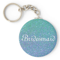 Blue Glitter Personalized Bridesmaid Keychain