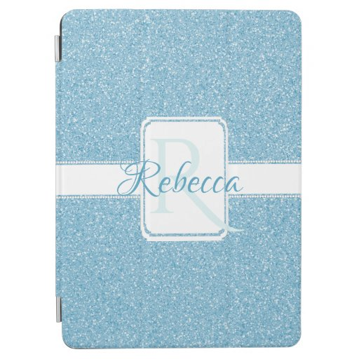 Blue Glitter Personalized iPad Air Cover