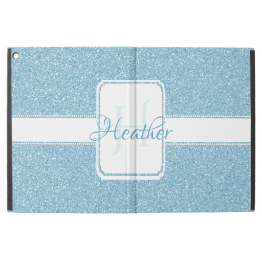 "Blue Glitter Personalized iPad Pro 12.9"" Case"