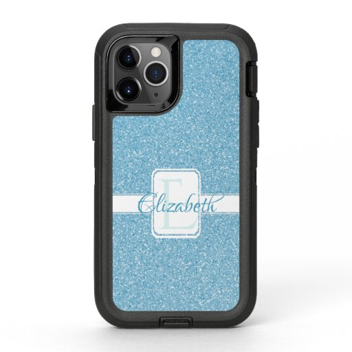 Blue Glitter Personalized OtterBox iPhone Case