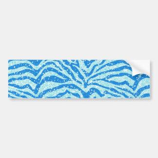 Blue Glitter Print Zebra Stripe Bling Pattern Bumper Sticker
