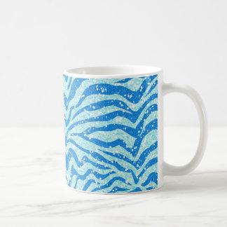 Blue Glitter Print Zebra Stripe Bling Pattern Classic White Coffee Mug