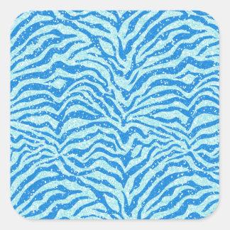 Blue Glitter Print Zebra Stripe Bling Pattern Square Sticker