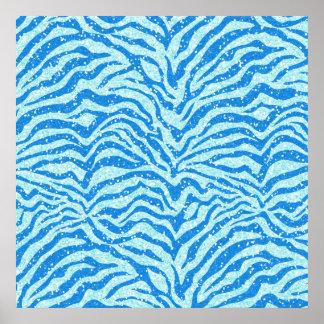 Blue Glitter Print Zebra Stripe Pattern