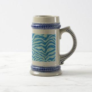 Blue Glitter Print Zebra Stripe Pattern Beer Stein