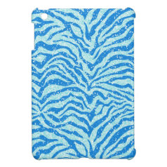 Blue Glitter Print Zebra Stripe Pattern iPad Mini Case