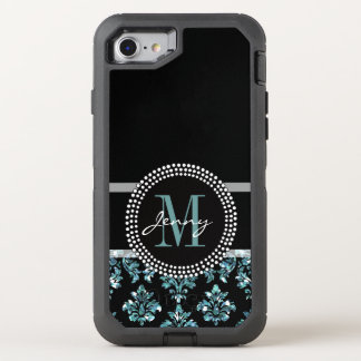 Blue Glitter Printed, Black Damask OtterBox Defender iPhone 7 Case