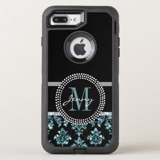 Blue Glitter Printed, Black Damask OtterBox Defender iPhone 8 Plus/7 Plus Case
