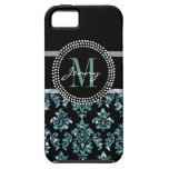 Blue Glitter Printed, Black Damask Personalized iPhone 5 Covers