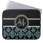 Blue Glitter Printed, Black Damask Personalized Computer Sleeve