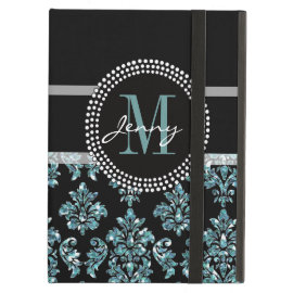 Blue Glitter Printed, Black Damask Personalized iPad Folio Cases