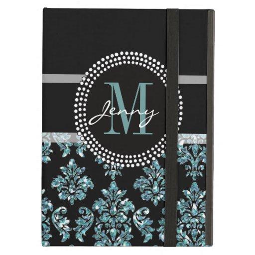 Blue Glitter Printed, Black Damask Personalized iPad Folio Cases